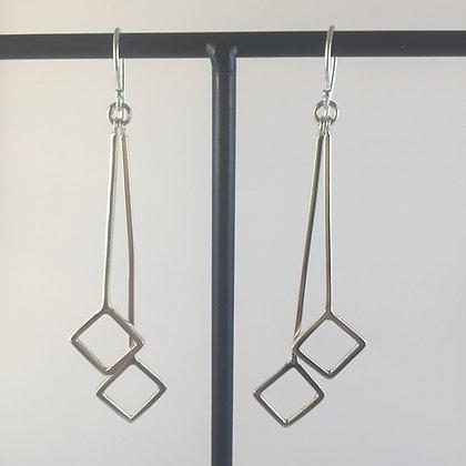 Double Drop Square Earrrings