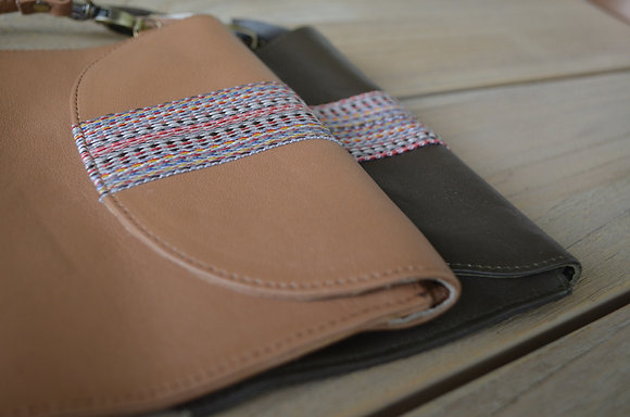 Leather pouch with ribbon trim
