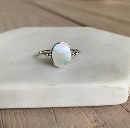Oval Mother of Pearl Spin Ring