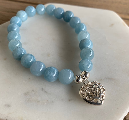 Aquamarine bracelet with heart charm