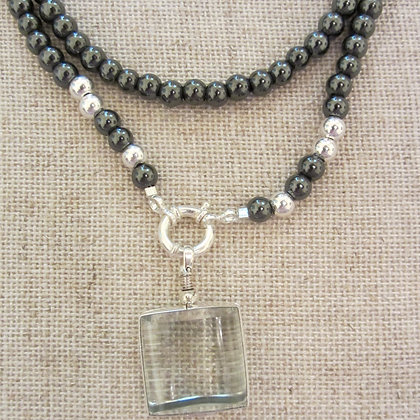 Hematite long beaded necklace with locket