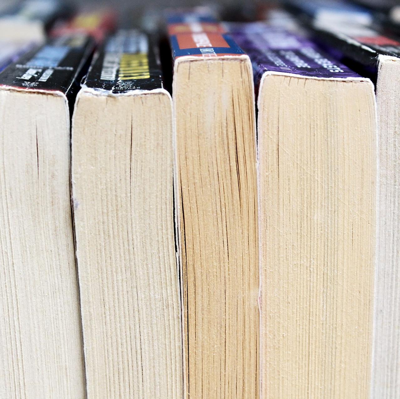 lineup of mass market paperback books