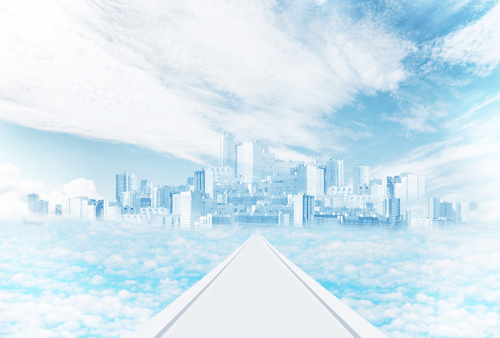 utopian city in the clouds