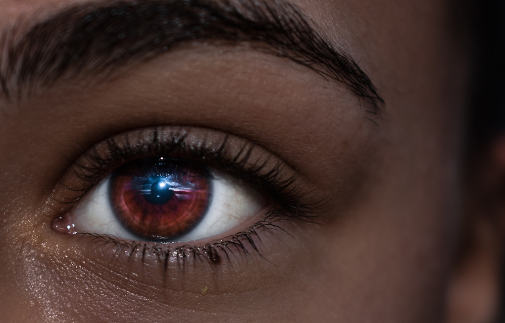 Closeup of a Geomancer woman's eye