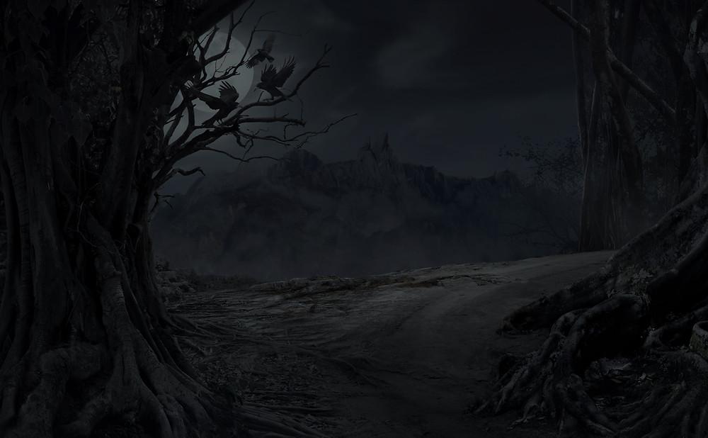 dark, creepy cliff