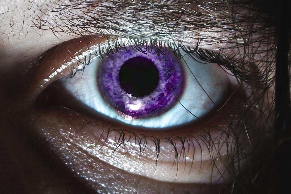 Closeup of a Shockmancer man's eye
