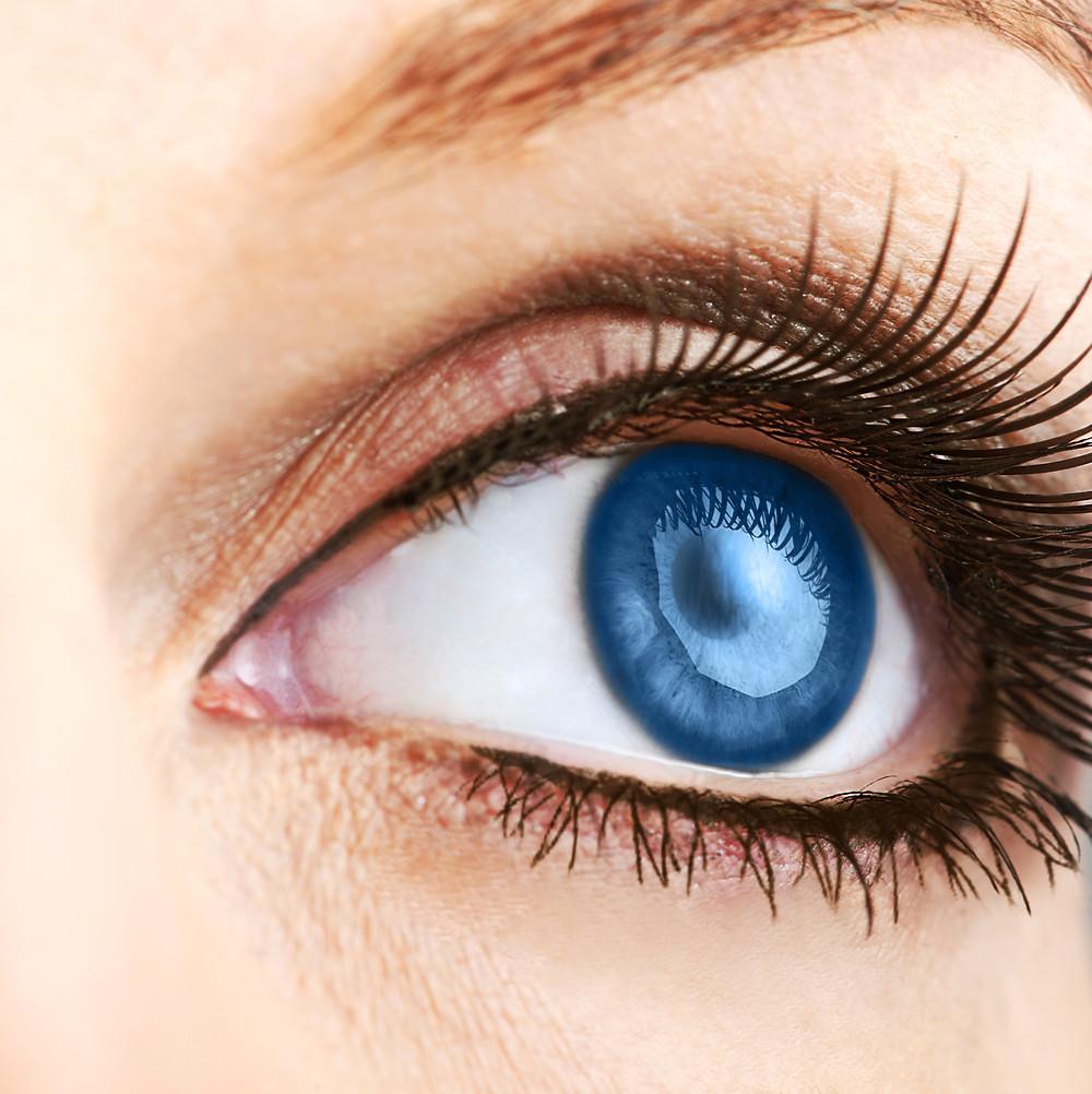 Closeup of a Hydromancer woman's eye