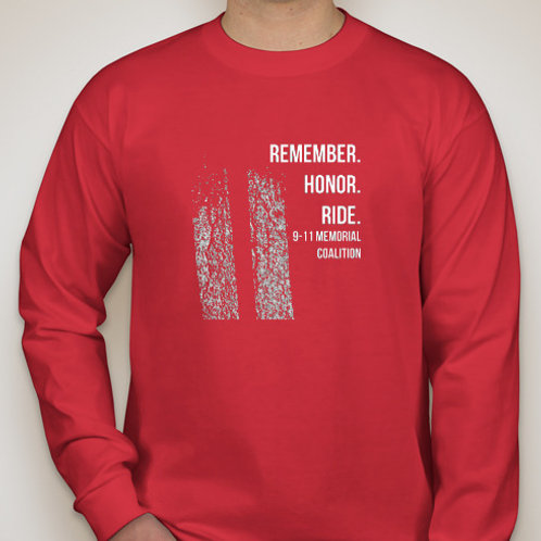 Red-2018 ride route shirt - long sleeve