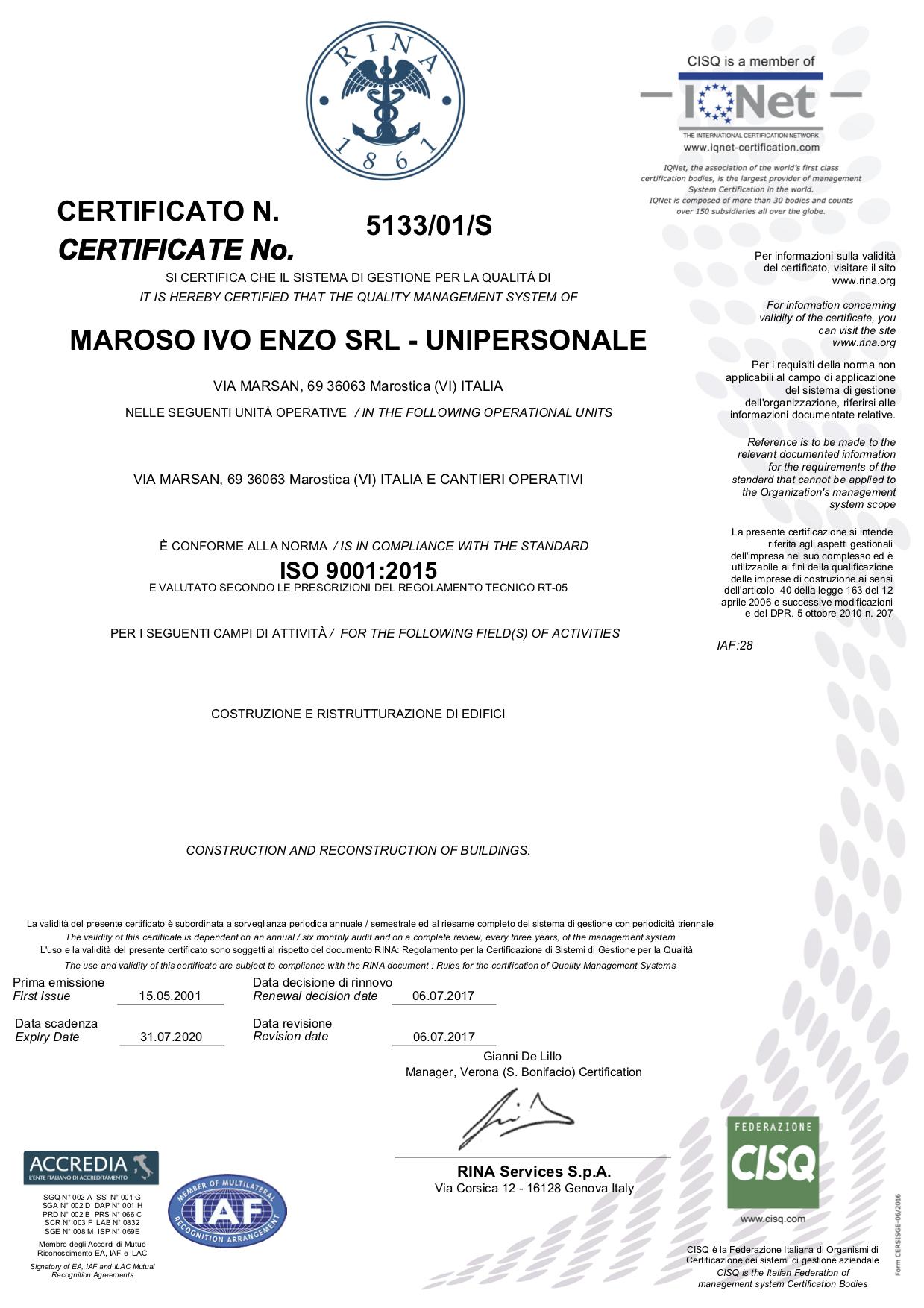 ISO 9001.2015 del 06.07.2017