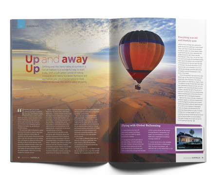 Victoria Regional spread for the Destinations tourism magazine.