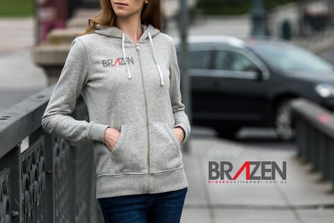 Brazen logo on hooded top