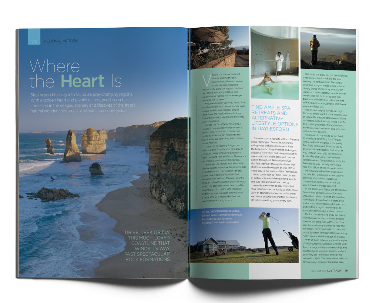 Victoria Regional spread for the Destinations tourism magazine.