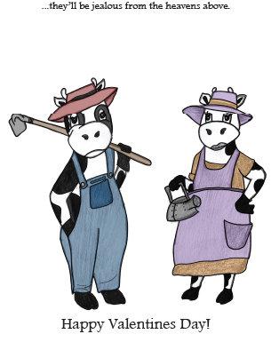 Cow Line - Valentine's Day Card