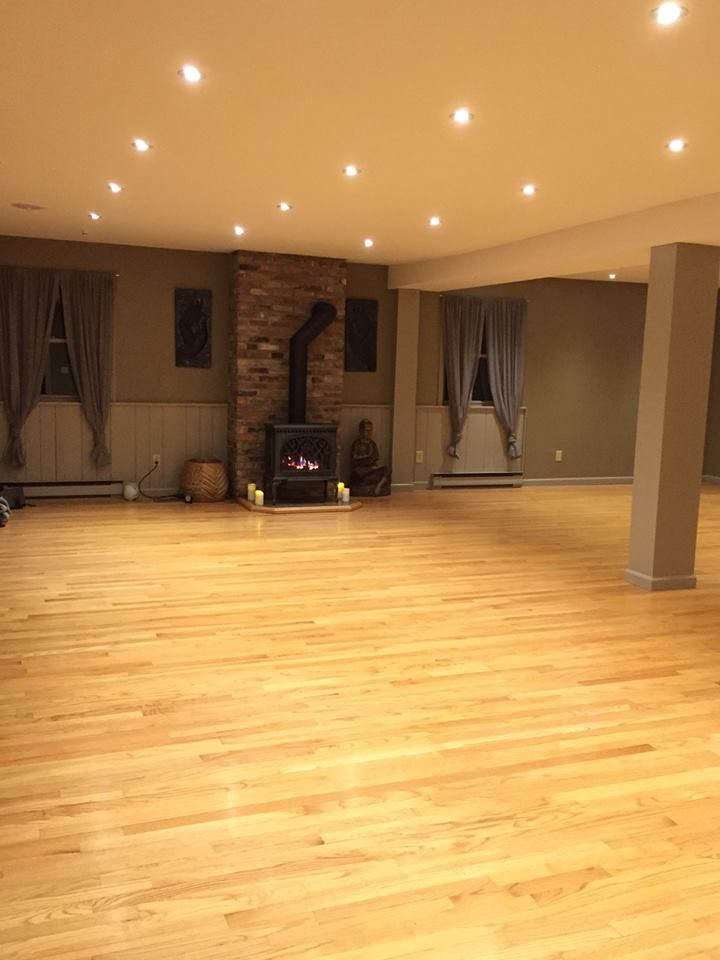 Yoga studio A with fireplace