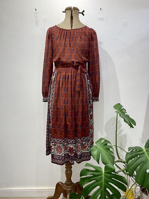 70's Boho, paisley pattern belted dress