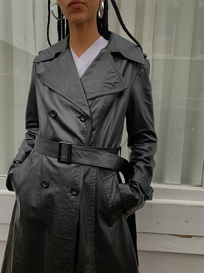 Real Leather Double Breasted Trench