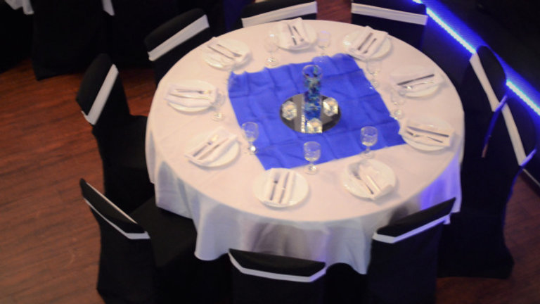 """90"""" Round Table Cloths (white or black)"""