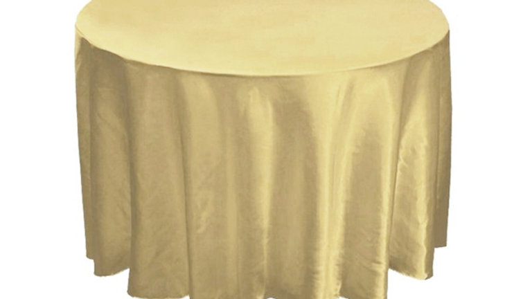 "Champagne 120"" Satin Round Tablecloth"