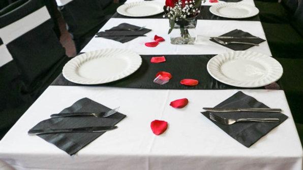 "90"" X 156"" Rectangular Table Cloths (black or white)"