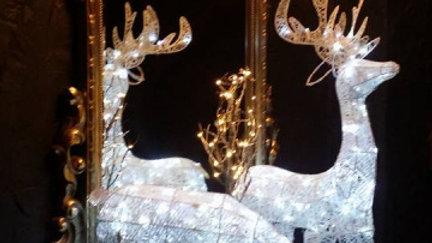 4' White Sparkling Tinsel Deer