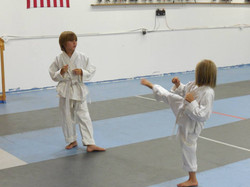 Kids practicing one-step sparring
