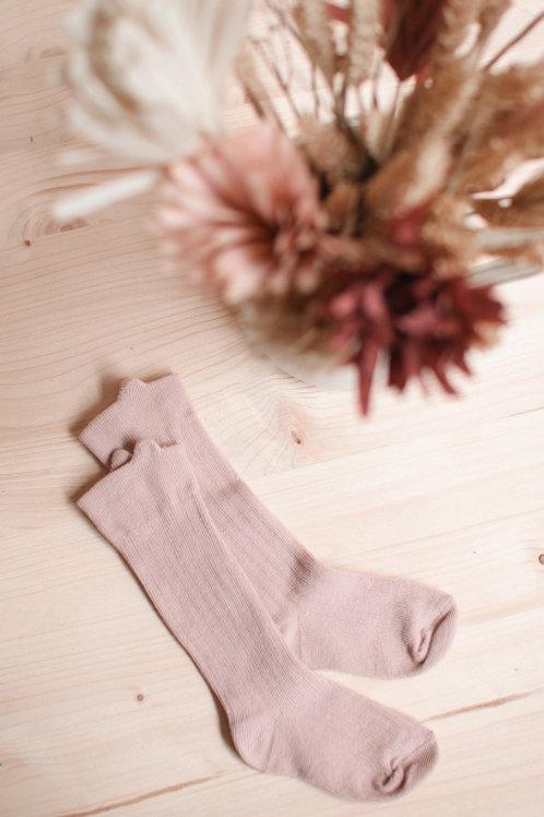 Chaussettes hautes à oreilles Vieux Rose-Joey Pari