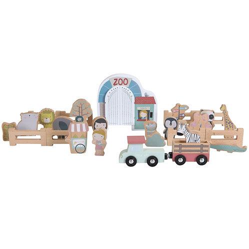 Lot de figurines en bois pour circuit Zoo Little Dutch