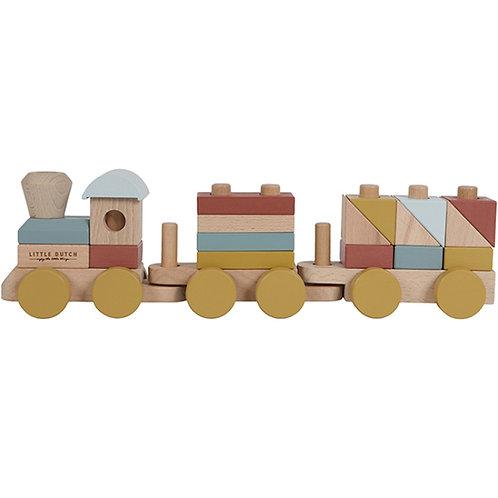 Train de construction en bois Pure & Nature (22 pièces) Little Dutch