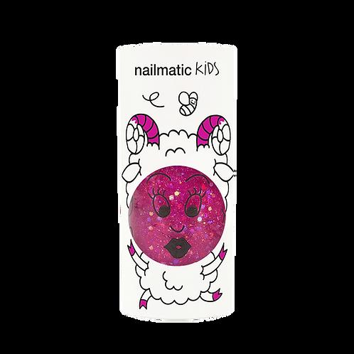 Vernis enfant base eau - Sheepy - framboise transparent pailleté-Nailmatics KIDS