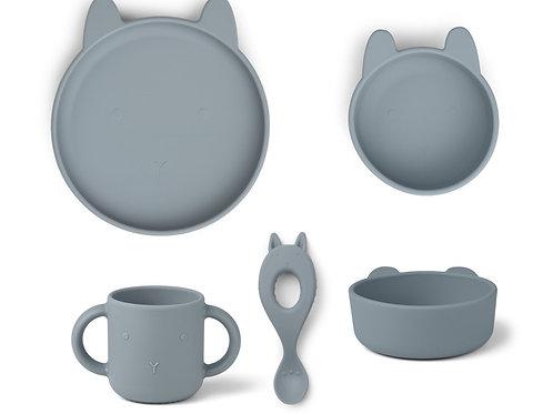Coffret vaisselle en Silicone Liewood - ChatSea Blue