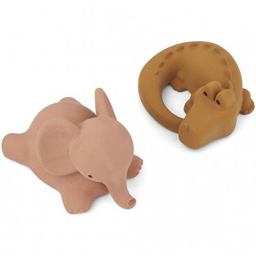 Lot de 2 jouets de bain Vikky safari rose et moutarde Liewood