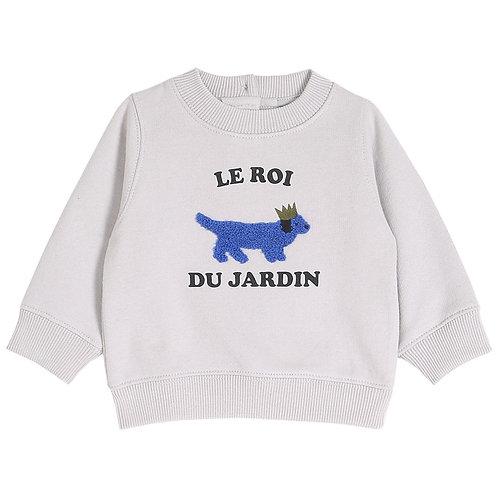 SWEAT SHIRT GARCON EN COTON BIO MOLLETONNE BRUME IMPRIME LE ROI DU JARDIN - EMIL