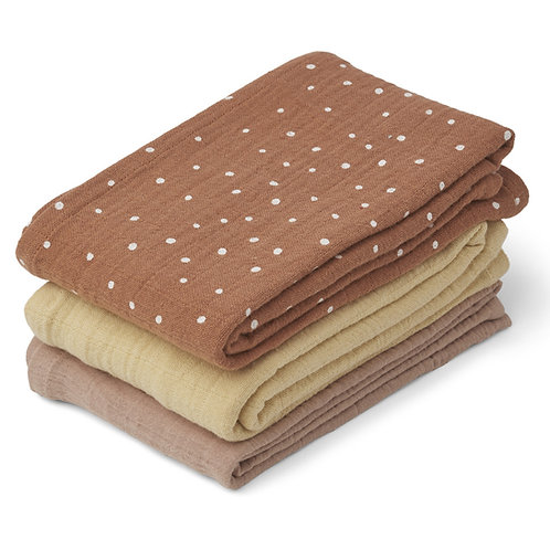 Lot de 3 Langes Line - Confetti Terracotta Mix-Liewood
