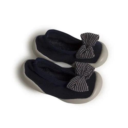 Ballerines chaussons Bleu Nuit et son noeud rayé-Collegien