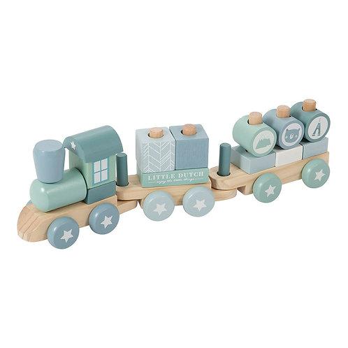 Train à Blocs - Bleu-Little Dutch