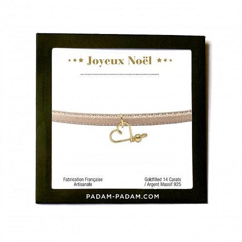 BRACELET JOYEUX NOËL velours Rose pâle -Padam Padam Paris