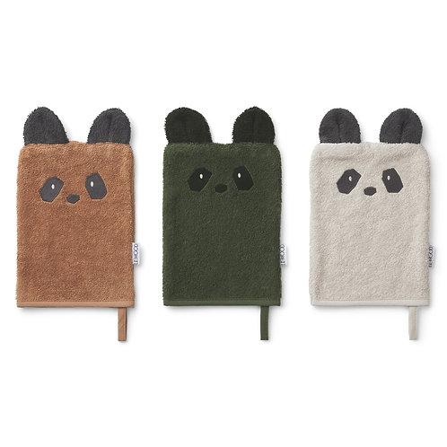 Lot de 3 Gants de Toilette Sylvester - Panda Mix-Liewood