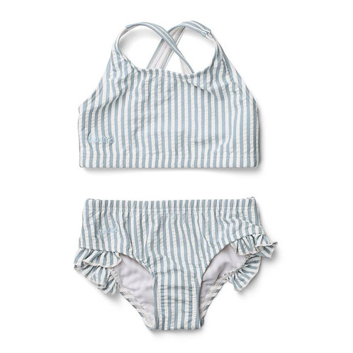 BIKINI À VOLANTS JULIET - Y & D STRIPE SEA BLUE & WHITE Liewood