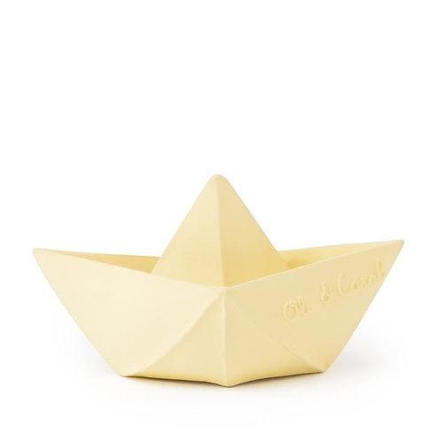Jouet de bain bateau origami latex d'hévéa vanille Oli & Carol