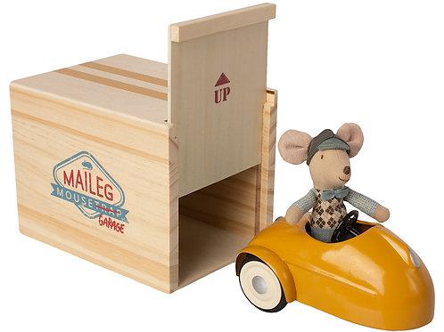 Garage avec souris et voiture jaune-Maileg