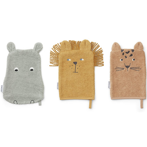 Lot de 3 gants de toilette Sylvester safari-Liewood