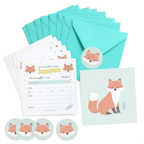 INVITATIONS ANNIVERSAIRE RENARD - LOT DE 8 ZÜ