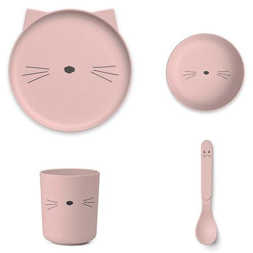 LIEWOOD Set de vaisselle Cat - Rose