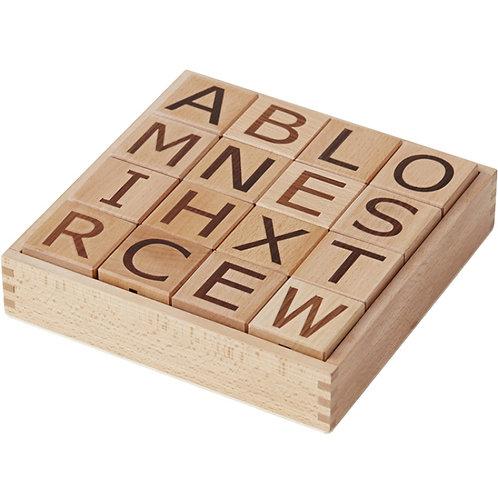 Cubes en bois lettres Neo (16 cubes) Kid's Concept