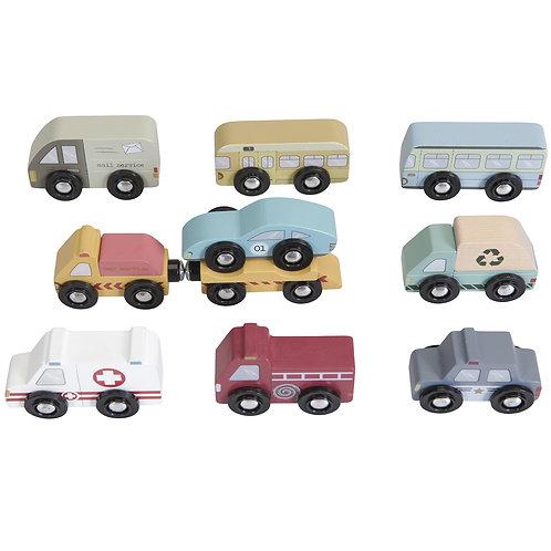 Lot de 9 véhicules en bois Little Dutch