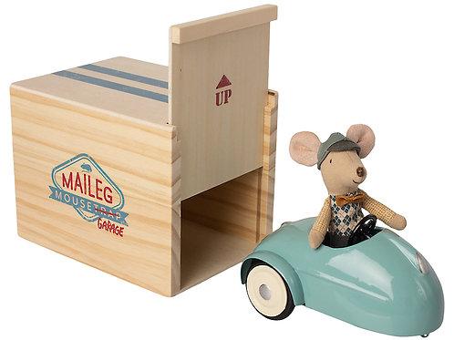 Garage avec souris et voiture bleu-Maileg