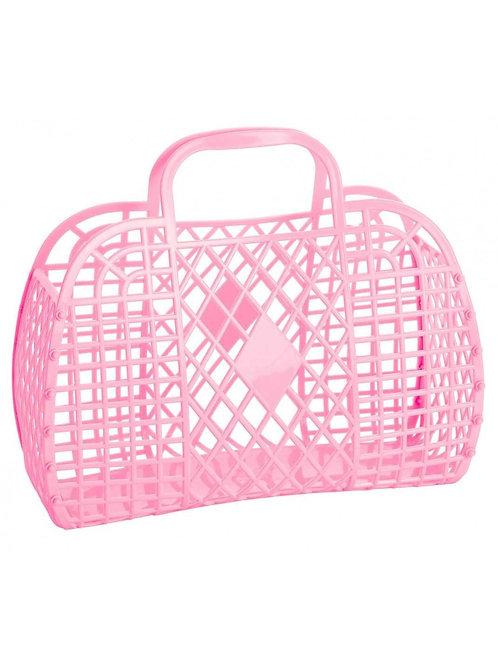 Grand Panier Rétro en Plastique Rose Bubblegum