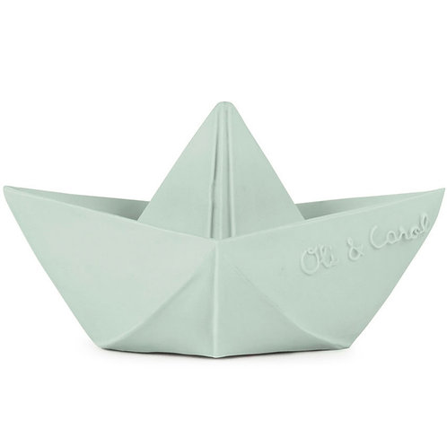 Jouet de bain bateau origami latex d'hévéa vert d'eau Oli & Carol