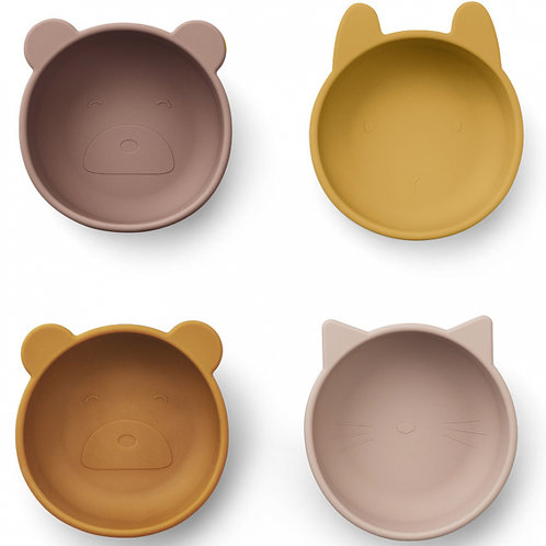 Lot de 4 bols en silicone rose blush mix Liewood