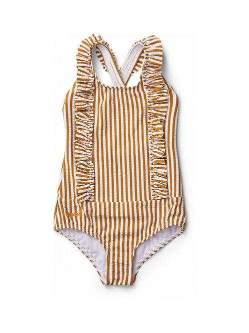 Liewood - Maillot De Bain Moa - Rayures Blanches/Moutardes